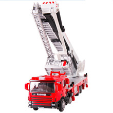 KAIDIWEI Alloy Elevated Firefighting Truck Toy 1:50 Scale Die cast metal +ABS Fire Rescue Car Model Kids Toys