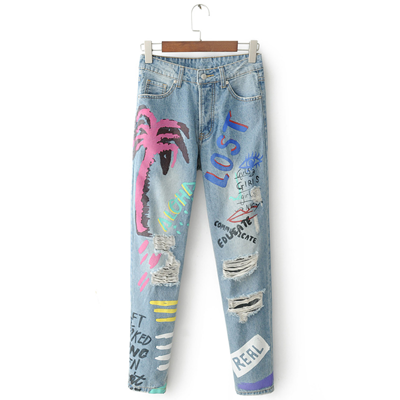 ShejoinSheenjoy Fashion Graffiti Print Jeans Woman High Waist Ripped Jeans For Women Zipper Casual Straight Denim Pants Trousers (14)