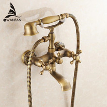 Bathtub Faucets Wall Mounted Antique Brass Brushed Bathtub Faucet With Hand Shower Bathroom Bath Shower Faucets Torneiras 6761F(China)
