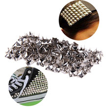 100 Pieces 7mm Pyramid Garment Rivets Square Stud Rivets for DIY Punk Bag Belt Craft Clothes Silver CA1T