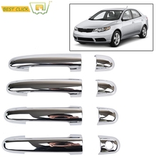 ACCESSORIES FIT FOR 2010 2011 2012 KIA FORTE CERATO CHROME SIDE DOOR HANDLE BAR COVER CATCH TRIM MOLDING CAP MOULDING(China)
