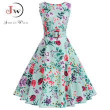 Buy Women Summer Dress Print Floral Robe Retro Swing Casual Elegant Vintage 50s Rockabilly Dress Party Dresses Belt Vestidos for $10.32 in AliExpress store