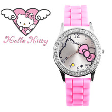 2017 New hello kitty quartz watch kids cartoon wristwatch silicone girls women watches mujer relojes rhinestone children watches