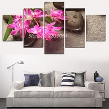 Hot Sale red orchid stone background  frameless free shipping  picture canvas painter houses art on wall 5 pieces