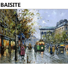 BAISITE Framed Landscape DIY Oil Painting By Numbers Picture Of Train Painting&Calligraphy Home Decor Wall Art E192 40x50cm
