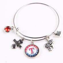 Mix MLB Alloy Bracelet Texas Rangers Team Dangle Charms Bangle For Baseball Sports Fans Jewelry 6Pcs/lot