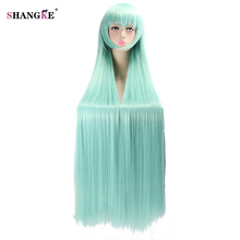 SHANGKE Long Green Wigs with Bangs Costume Party Wigs for Women Heat Resistant Synthetic Hair Afeican Ameican Wigs for Cosplay(China)