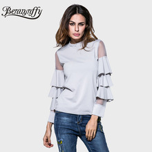 Benuynffy 2017 New Spring Summer T Shirt Women Fashion Tops Female Mesh Patchwork Layered Sleeve Slim Tee Women Long Sleeve T307(China)