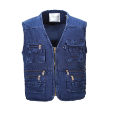 2017 Cotton Loose Gilet Reporter Photographer Multi-pocket Vest For Men