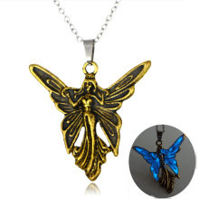 Vintage Mermaid Butterfly Glowing Pendant Necklaces Angel Winds Glow In The Dark Necklaces Jewelry Luminous Necklace Best Friend