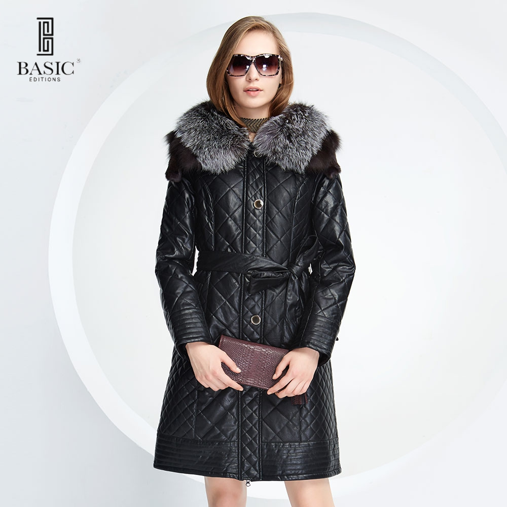 BASIC-EDITIONS New Winter Women Faux Leather Clothing Fox Fur Collar Slim Female Jacket Quilting grid Cotton Coat - D13058Одежда и ак�е��уары<br><br><br>Aliexpress