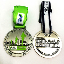 customized running medal with custom design engraved and  in soft enamel with custom logo with medal ribbon--100pcs
