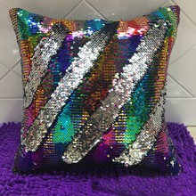 New Hot Fashion Beauty Color Shiny Double 40X40CM Glitter Sequins Shiny Throw Pillow Case Cafe Home Pillow cases(China)