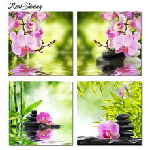 REALSHINING 3D Diamond Painting Orchid Bamboo Crystal Square Rhinestone Picture Cross Stitch Kits diy Diamond Embroidery R100