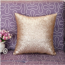 Cotton Pink Solid Color Glitter Sequins Throw Pillow cover Cafe Home Decor Cushion Covers square chair car decorative sofa case(China)