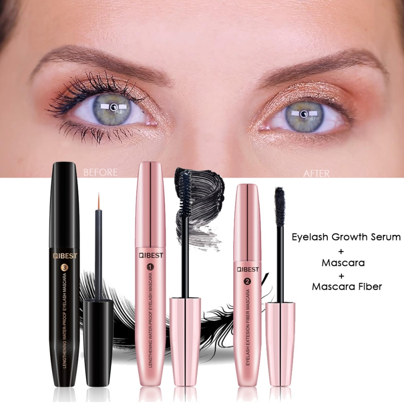 cb2bd4c0dee QIBEST 4D Silk Fiber Eyelash Mascara Makeup Waterproof Eyelash Growth  Enhancer Longer Eyelashes Thicker Kits Cosmetics
