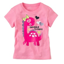 Pink Dino Baby Girl T-Shirts Summer Short Sleeve dinosaur Fashion Girl Clothes Shirts Tops 1 2 3 4 5 6Years Infant Tees Shirt
