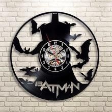 1Piece Batman Bad Blood Vinyl Record Clock Wall Art Home Decor Interior Design Batman Sillhouette Time Clock