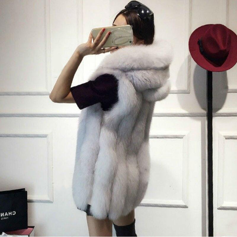 2017 Spring Faux Fur Vest Women Plush Hooded Fur C...