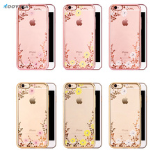 Hot Flora Diamond Silicon Case for Apple iPhone 6 6S Chic Flower Bling Soft TPU Clear Phone Back Cover