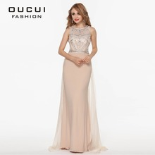 Real Photo Nude Color Tulle Jersey Chiffon See Through Back Beading Handwork Evening Dresses OL102345(China)