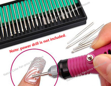 30pcs 1set Drill Bits Set Power Drill Bits Toolkit Nail Electric Drill Accessaries 2.35 rod File Machine Manicure Pedicure Tools