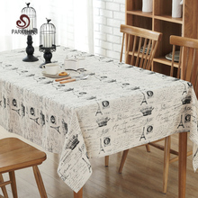 ParkShin Tablecloth Black Eiffel Tower Linen Cotton Table Cloth Rectangular Edge Europe Table Cover 4 Sizes Hot