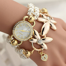 2017 New Hot Sell Pearl Bracelet Watch Women Fashion Style Korean Version of the Creative Pearl Diamond Winding Quartz-watch