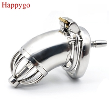 Happygo Stainless Steel Chastity Device with Urethral Catheter and Anti-Shedding Ring,Cock Cage,virginity Belt,Penis Ring,A278-2