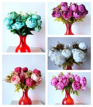 11 heads Artificial  Peony Flowers Decoration Fresh  Artificial Flowers latex  for wedding bouquet decoration