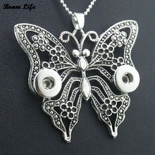 Vintage butterfly long chain bohemian necklaces & pendants NE434 Women's 12mm snaps button necklace one direction DIY Jewerly