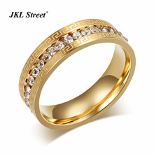 JKL 316L Stainless Steel Gold Men's Greek Key Band Ring Iced Out Micro Pave Clear Eternity One Row CZ Wedding Ring Size 6-9