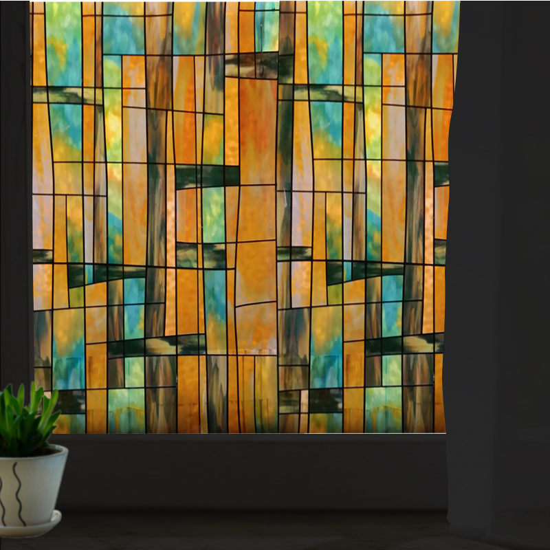 stained glass art window sticker sunscreen 70x100cm opaque frosted No glue electrostatic window privacy film Hsxuan brand 703201(China (Mainland))