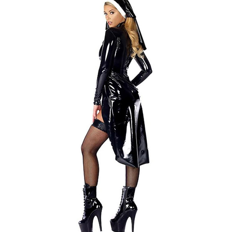 2017 New Arrival Halloween Cosplay Nun Role-Playing Fashion Top Panties And Hat Vinyl Black Women Sexy Costume (3)