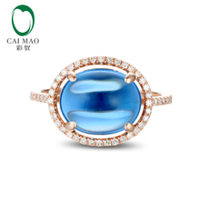 Real 14K Rose Gold 5.33CT Cabochon Cut Blue Topaz Engagement Diamond Ring Hot(China)