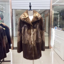 FURSARCAR New Winter Women Real minK Fur Coat With Fur Collar Natural mink Female Jacket Genuine Luxury Real mink Fur Coat(China)