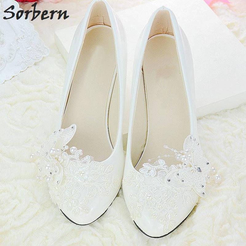Sorbern White Shiny Pu Beading Butterfly Appliques Heels Womens Pumps Womans Shoes Fashions 2017 Elegant Shoes 4.5Cm/8Cm<br>