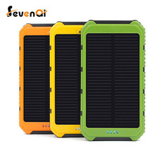 Seven New Portable solar power bank Real 10000mAh solar Panel External Battery 2 USB Power Bank Mobile Charger for xiaomi HUAWEI
