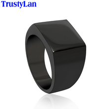 TrustyLan Cool Simple Men Ring Never Fade Black Silver Color Stainless Steel Men's Rings Size 12 Fashion Male Jewelry Gift Anel(China)