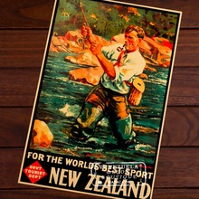 NZ Vintage Fly Fishing Poster New Zealand View Art Retro Decorative Frame Poster DIY Wall Home Posters Home Decor Gift