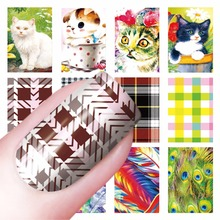 YZWLE 1 Sheet Optional Cat Feacher Lattice Pattern Nail Sticker Water Decals Nail Art Water Transfer Stickers For Nails(China)