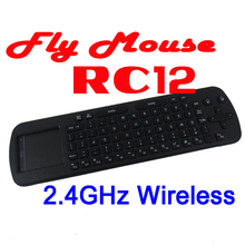 by dhl or ems 10 pieces Brand New RC12 2.4GHz Mini Fly Air Mouse Wireless Keyboard for Google Android Smart TV Box