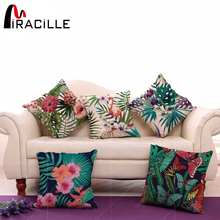 "Cotton Linen Square 18"" Tropical Tree and Flamingo Printed Sofa Decorative Throw Cushion Pillows Living Room Decor No Filling(China)"