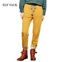 Elf SACK spring street straight knitted trousers print embroidery sports casual pants female p