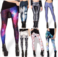 Women AURORA SKYE HEX COLOUR Galaxy Rainbow Cloud Black Green Muscle Mermaid Leggings Plus Size XL