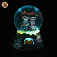 WR Colorful Crystal Ball Glass Music Box Creative Forever Love Gifts Snow Globe Ball Home Decorations Christmas Gifts