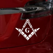 Masonic Series Freemason Compass Square Decal Sticker die cut Car Truck Notebook stickers 5'' white silver