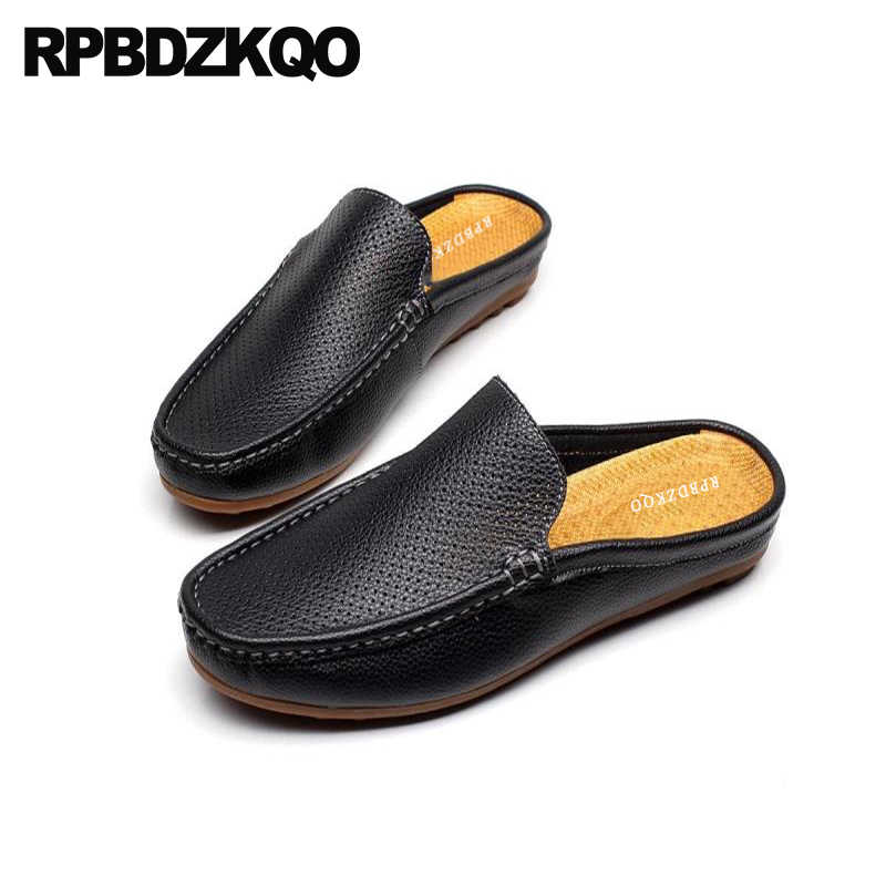 Men Breathable Summer Half Slippers Flat Shoes Slip On Close Toe Leather Sandals