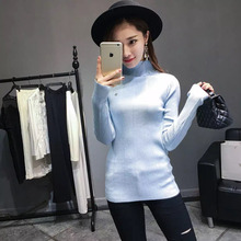 Korea 16 autumn winter women pure light blue color turtleneck knitted sweater skinny pullover long sleeve female common tops 023(China)
