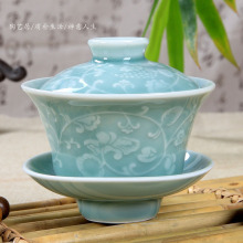 Handmade Relief Longquan Celadon Chinese Porcelain Gaiwan China Tea Set teapot ceramic Kung Fu Tea set Tureen tea pot